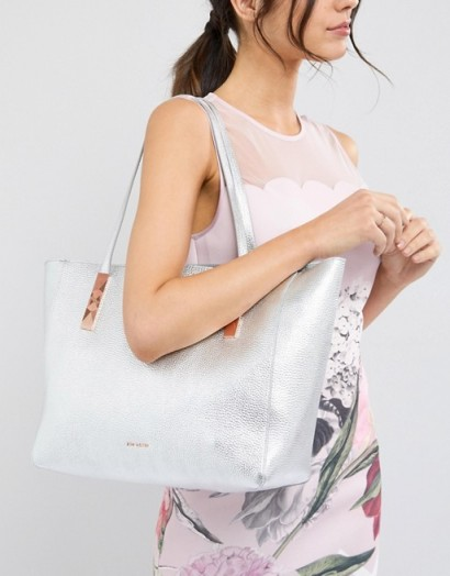 Ted Baker Soft Leather Tote with Zip in Silver | metallic shopper