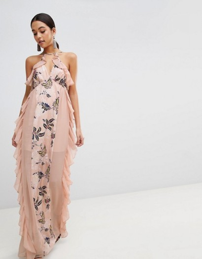 The Jetset Diaries Floral Panel Maxi Dress – red carpet style dresses – long pink ruffled gowns