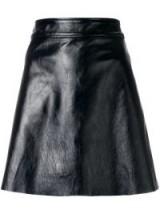 THEORY Black Leather A-line mini skirt