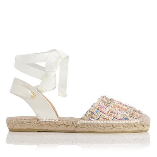 THOMASINA IVORY TWEED ESPADRILLE FLATS ~ summer sandals