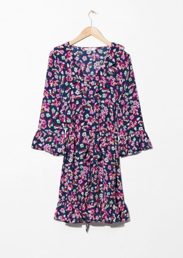 and other stories Tie Frill Dress Blue Floral - flipped
