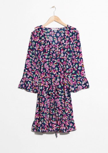 and other stories Tie Frill Dress Blue Floral