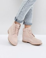 Timberland 6 Inch Premium Rose Suede Flat Boots Cameo Rose. NUDE WALKING BOOTS