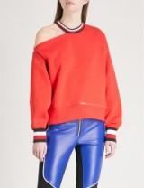 TOMMY HILFIGER Tommy Hilfiger x Gigi Hadid striped-trim jersey sweatshirt ~ red cut out shoulder sweatshirts