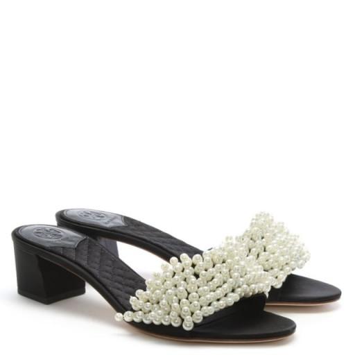 TORY BURCH Tatiana Black Pearl Embellished Mules – block heeled slip-on sandals