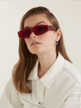 MARQUES'ALMEIDA Transparent rectangle-frame red acetate sunglasses
