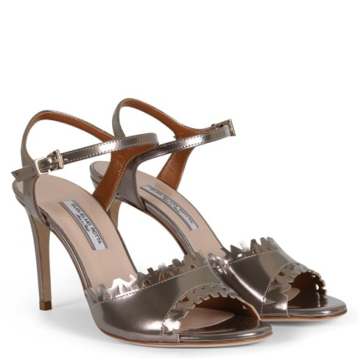 Trebonne Pewter Suede Laser Cut Sandals – metallic stiletto heels