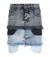 Unravel Potassium Denim Double Denim Skirt ~ frayed hem skirts