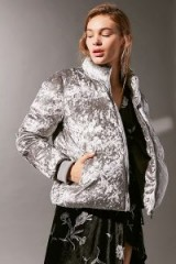 UO Classic Velvet Puffer Jacket in Silver – as worn by Lauren Bushnell out on St Patrick's day, 17 March 2018. Celebrity jackets | star style fashion