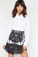 NASTY GAL Use Your Thread Embroidered Skirt. FRINGED HEM SKIRTS