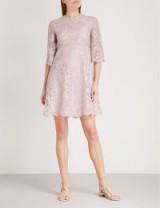 VALENTINO Scalloped-trim lilac lace mini dress