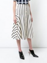 VERONICA BEARD striped flared skirt | white and navy blue stripe skirts