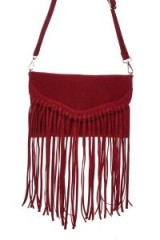 NASTY GAL WANT Swing By Sometime Fringe Crossbody Bag. RED FRINGED HANDBAGS