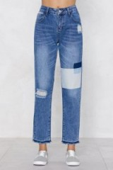 NASTY GAL Washed Patch Mom Jean | distressed jeans
