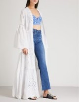 WE ARE LEONE Broderie anglaise cotton maxi jacket / long bohemian style clothing