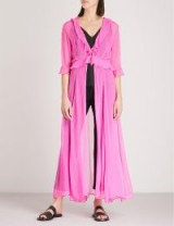 WE ARE LEONE Ruby ruffled silk-chiffon maxi jacket Malibu Pink – long sheer jackets