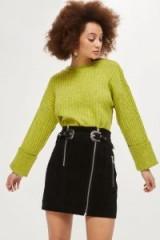 Topshop Western Suede Mini Skirt / black belted skirts