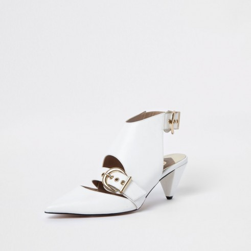 River Island White pointed toe buckle cone heel mules – contemporary buckled shoes