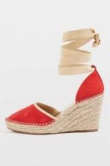 Topshop Williams Espadrille Wedges | red ankle tie espadrilles
