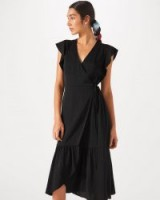 Jigsaw WRAP FRILL DRESS in black – frilled dresses