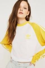 adidas Originals 3-Stripe Yellow Long-Sleeve Shirt ~ sports fashion