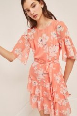 FRENCH CONNECTION ALBA SHEER TIE WAIST RUFFLE DRESS PEACH BLOSSOM / ruffled floral dresses