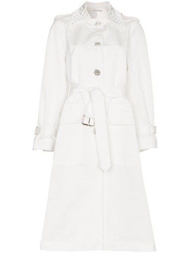 Alessandra Rich Crystal Embellished Faille Trench Coat ~ luxe coats