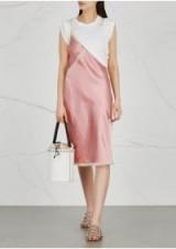 ALEXANDER WANG Deconstructed T-shirt and satin slip dress ~ casual luxe dresses