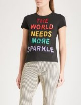 ALICE & OLIVIA Sequin-embellished cotton-jersey T-shirt / black slogan tees / 'the world needs more sparkle' tee