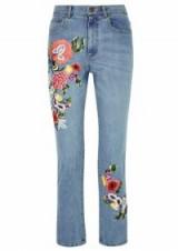 ALICE + OLIVIA Blue floral-embroidered slim-leg jeans ~ cropped denim