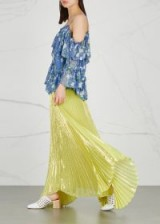 ALICE + OLIVIA Katz pleated lamé maxi skirt ~ long metallic-yellow skirts