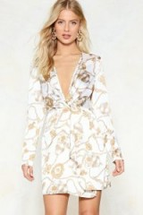 Nasty Gal All Wrapped Up in It Mini Dress – chain print party dresses