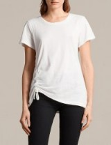 ALLSAINTS Arie cotton-jersey T-shirt / white side ruched tees