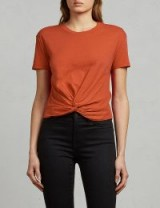 ALLSAINTS Carme knotted cotton-jersey T-shirt / front knot t-shirts