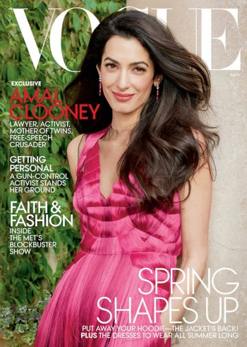 Amal Clooney, photographed by Annie Leibovitz, graces the cover of Vogue, May 2018 issue