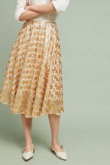 Seen Worn Kept Amanda Sequin Midi Skirt at Anthropologie | gold metallic skirts