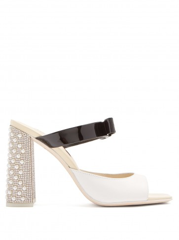 SOPHIA WEBSTER Andie crystal and bow-embellished leather mules / pearl covered chunky heels