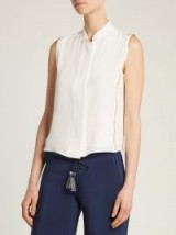 ZEUS + DIONE Aria lamé-trimmed silk shirt ~ cream sleeveless mandarin collar shirts ~ metallic-gold trim