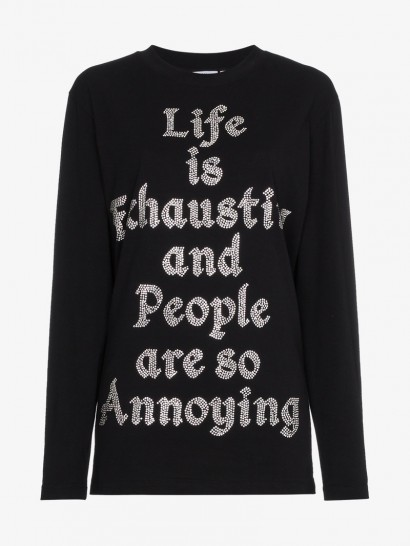 Ashish Crystal Embellished Slogan Top / black slogan tops