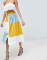 ASOS DESIGN colourblock midi skirt with button front | yellow, blue and white colour block skirts
