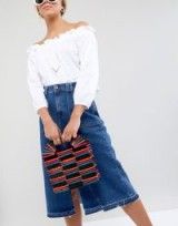 ASOS DESIGN Coloured Bamboo Square Boxy Clutch Bag | rigid top handle bags