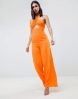 ASOS DESIGN Cross Front Jumpsuit With Twist Neck And Wide Leg | orange cut out jumpsuits
