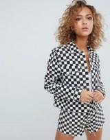 ASOS DESIGN denim jacket in checkerboard print – monochrome checked jackets