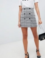 ASOS DESIGN double breasted mini skirt in pink check / checked front buttoned skirts