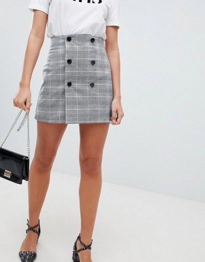 ASOS DESIGN double breasted mini skirt in pink check / checked front buttoned skirts - flipped