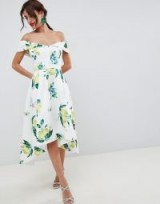 ASOS DESIGN Lemon Print Bardot Cold Shoulder Dip Back Midi Prom Dress – off the shoulder fit and flare dresses