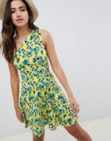 ASOS DESIGN One Shoulder Cut Out Sundress In Floral Print | yellow sundresses