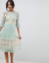 ASOS DESIGN Premium Crochet Insert Midi Dress ~ mint green frilled party dresses