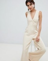ASOS DESIGN Tailored Jumpsuit with Wide Leg in stone | sleeveless flared leg jumpsuits