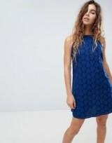 ASOS Low Back Mini Sundress in Heart Broderie ~ strappy blue sundresses